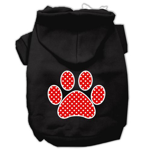 Red Swiss Dot Paw Screen Print Pet Hoodies Black Size Med (12)