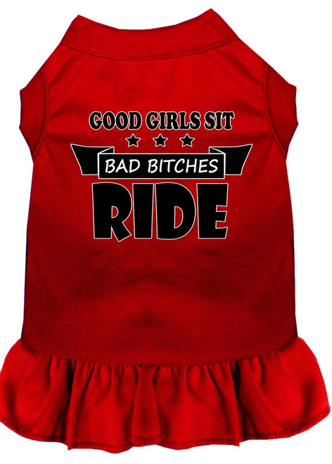 Bitches Ride Screen Print Dog Dress Red Xxxl (20)