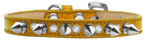 Crystal And Silver Spikes Dog Collar Gold Ice Cream Size 16