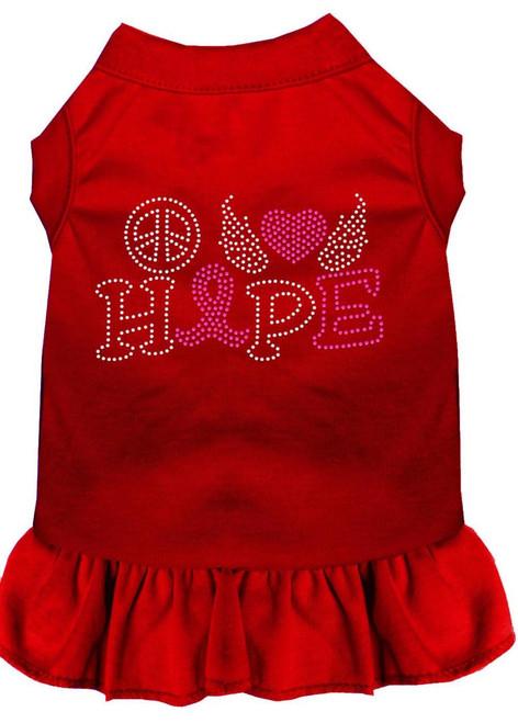 Peace Love Hope Breast Cancer Rhinestone Pet Dress Red Sm (10)