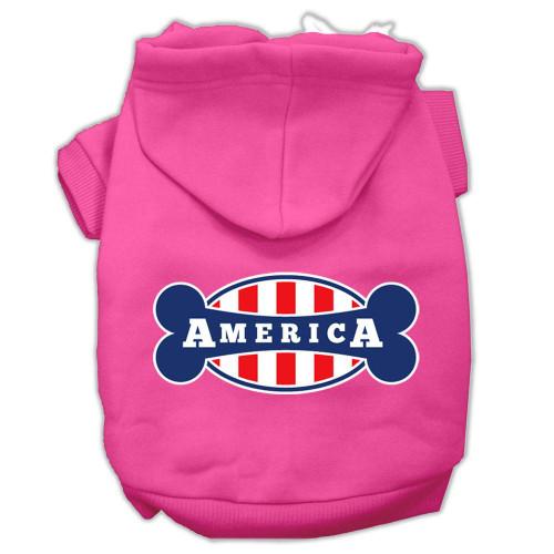 Bonely In America Screen Print Pet Hoodies Bright Pink Size Xs (8)