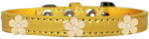 Gold Flower Widget Croc Dog Collar Yellow Size 10