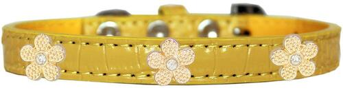 Gold Flower Widget Croc Dog Collar Yellow Size 18