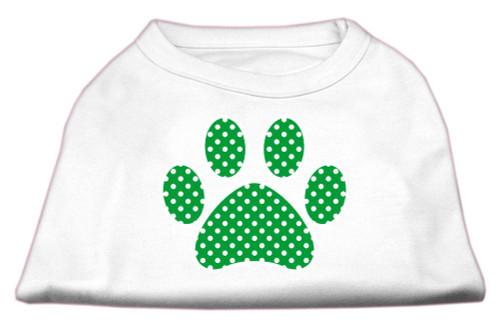 Green Swiss Dot Paw Screen Print Shirt White Xs (8)