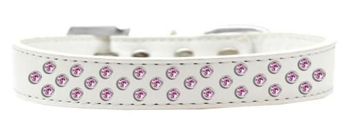 Sprinkles Dog Collar Light Pink Crystals Size 14 White