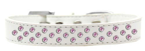 Sprinkles Dog Collar Light Pink Crystals Size 18 White