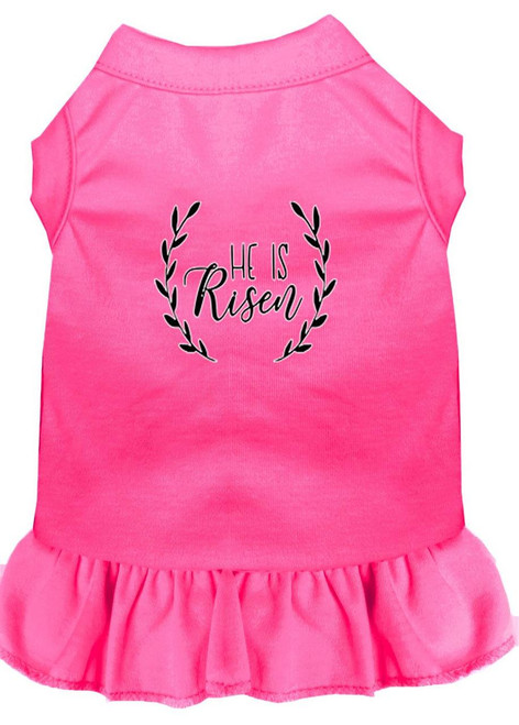 He Is Risen Screen Print Dog Dress Bright Pink 4x (22)