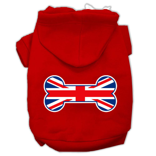 Bone Shaped United Kingdom (union Jack) Flag Screen Print Pet Hoodies Red Size M (12)