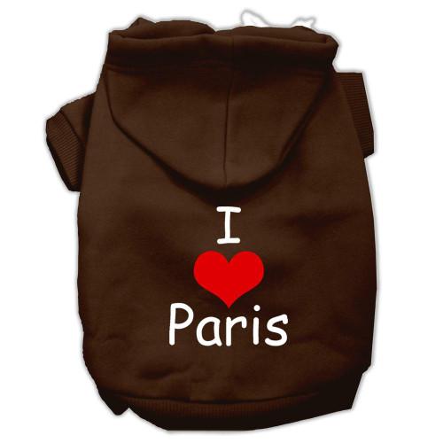 I Love Paris Screen Print Pet Hoodies Brown Size Lg (14)