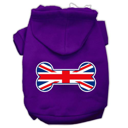 Bone Shaped United Kingdom (union Jack) Flag Screen Print Pet Hoodies Purple Size M (12)