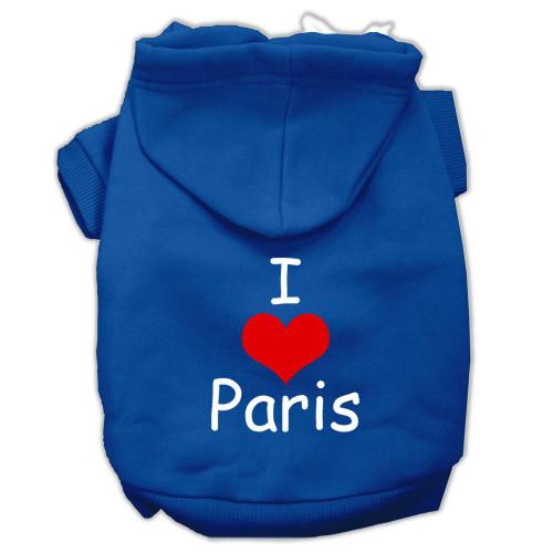 I Love Paris Screen Print Pet Hoodies Blue Size Lg (14)