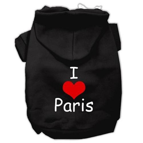 I Love Paris Screen Print Pet Hoodies Black Size Lg (14)