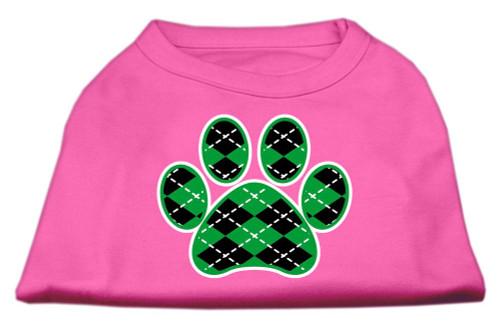 Argyle Paw Green Screen Print Shirt Bright Pink Lg (14)