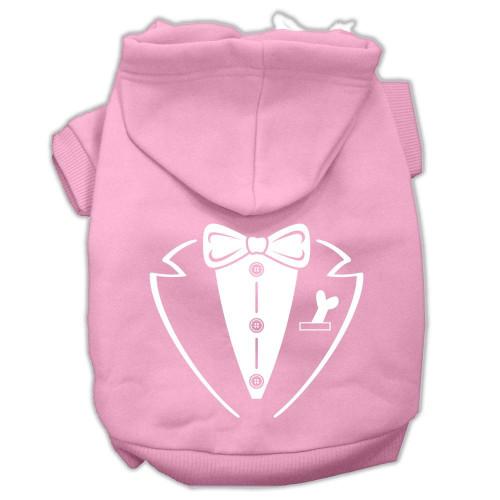 Tuxedo Screen Print Pet Hoodies Light Pink Size Med (12)