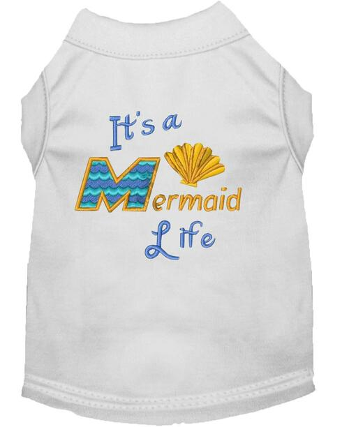 Mermaid Life Embroidered Dog Shirt White Xl (16)