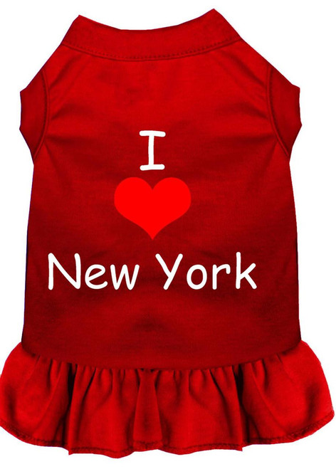 I Heart New York Screen Print Dress Red Xs (8)