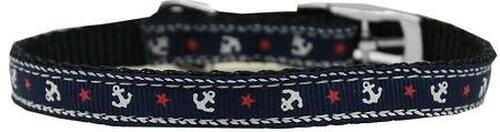 """Anchors Nylon Dog Collar With Classic Buckle 3/8"""" Blue Size 12"""