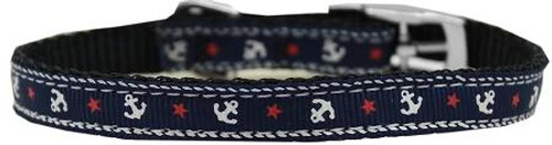 """Anchors Nylon Dog Collar With Classic Buckle 3/8"""" Blue Size 10"""