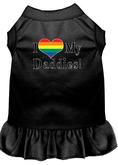 I Heart My Daddies Screen Print Dog Dress Black Xxl