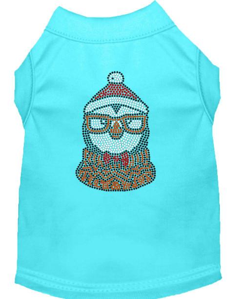 Hipster Penguin Rhinestone Dog Shirt Aqua Xxl (18)