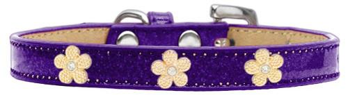 Gold Flower Widget Dog Collar Purple Ice Cream Size 20