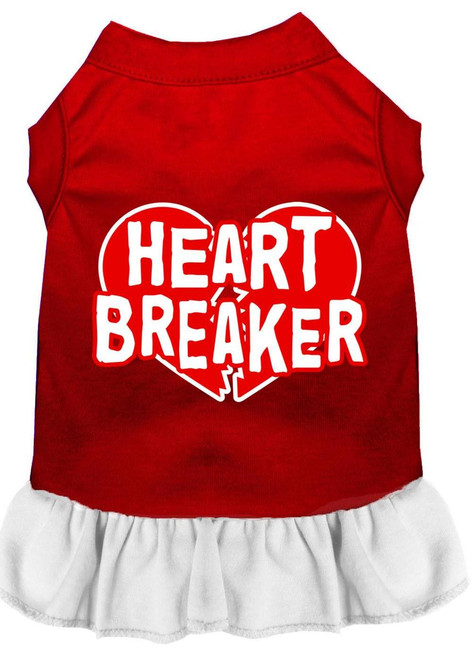 Heart Breaker Screen Print Dress Red With White Sm (10)