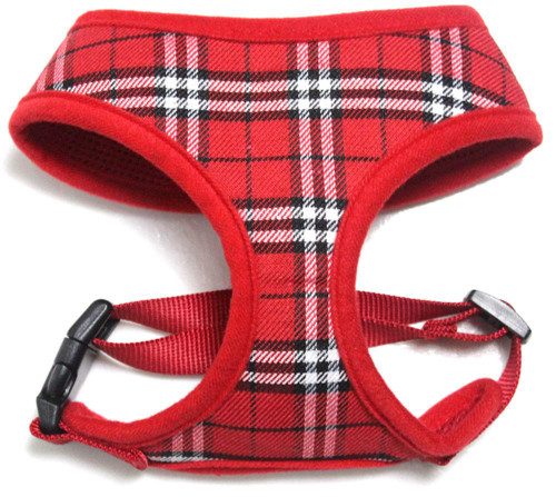 Plaid Mesh Pet Harness Red Large
