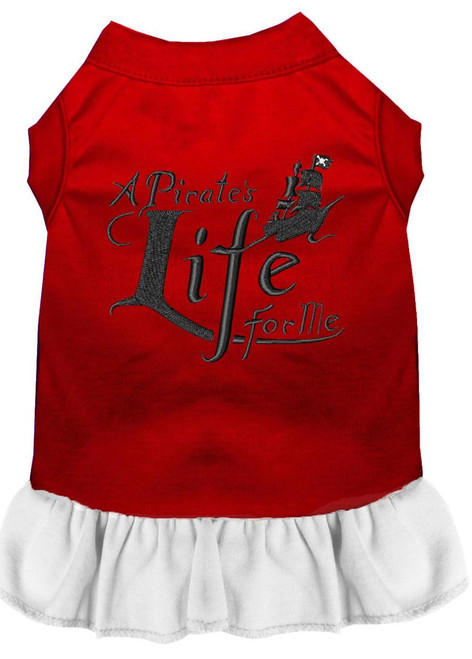 A Pirate's Life Embroidered Dog Dress Red With White Xxl (18)