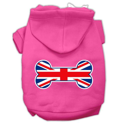 Bone Shaped United Kingdom (union Jack) Flag Screen Print Pet Hoodies Bright Pink M (12)