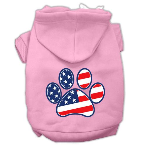 Patriotic Paw Screen Print Pet Hoodies Light Pink Size L (14)