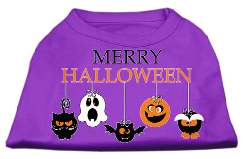 Merry Halloween Screen Print Dog Shirt Purple Med (12)