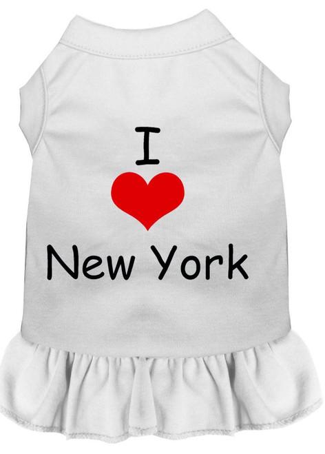 I Heart New York Screen Print Dress White Xs (8)
