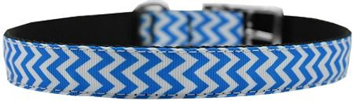 """Chevrons Nylon Dog Collar With Classic Buckle 3/4"""" Blue Size 14"""