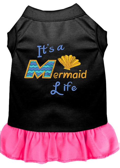 Mermaid Life Embroidered Dog Dress Black With Bright Pink Lg (14)