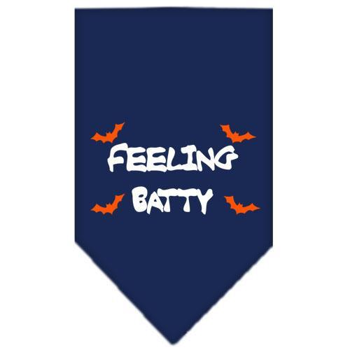 Feeling Batty Screen Print Bandana Navy Blue Large