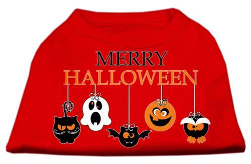 Merry Halloween Screen Print Dog Shirt Red Med (12)