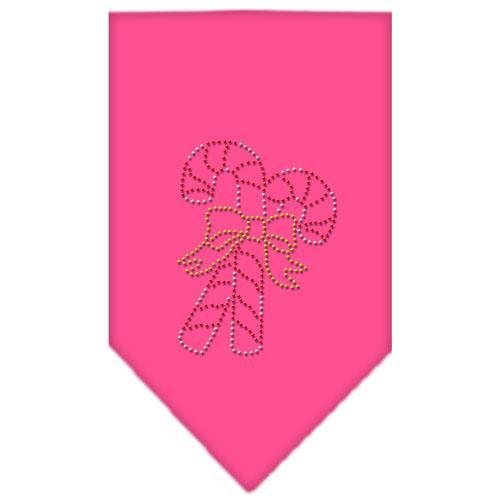 Candy Canes Rhinestone Bandana Bright Pink Large