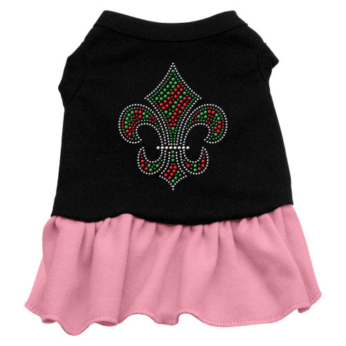 Christmas Fleur De Lis Rhinestone Dress Black With Pink Xxxl (20)