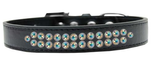 Two Row Ab Crystal Size 18 Black Dog Collar