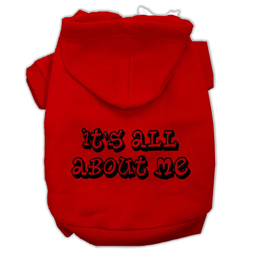 It's All About Me Screen Print Pet Hoodies Red Size Xl (16)