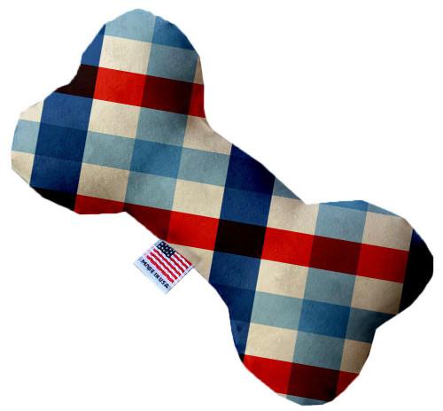 Patriotic Plaid 10 Inch Bone Dog Toy