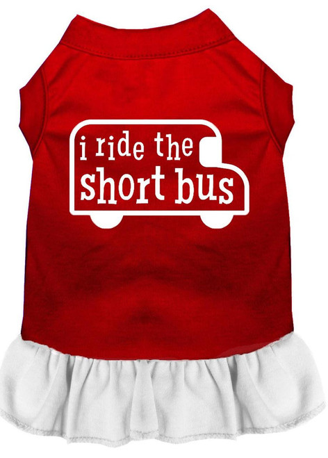 I Ride The Short Bus Screen Print Dress Red With White Lg (14)