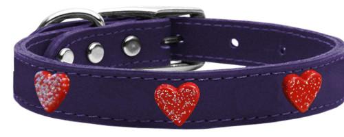 Red Glitter Heart Widget Genuine Leather Dog Collar Purple 12