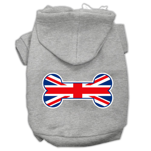 Bone Shaped United Kingdom (union Jack) Flag Screen Print Pet Hoodies Grey M (12)