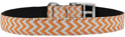 "Chevrons Nylon Dog Collar With Classic Buckle 3/4"" Orange Size 22"