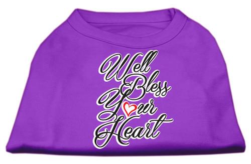 Well Bless Your Heart Screen Print Dog Shirt Purple Sm (10)