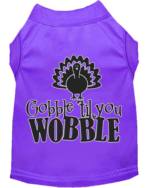 Gobble Til You Wobble Screen Print Dog Shirt Purple Sm