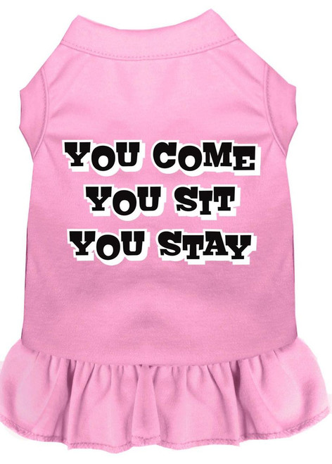 You Come, You Sit, You Stay Screen Print Dress Light Pink Xs (8)