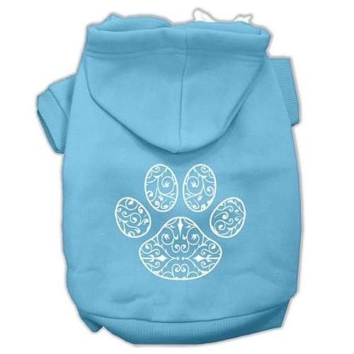 Henna Paw Screen Print Pet Hoodies Baby Blue Size Sm (10)
