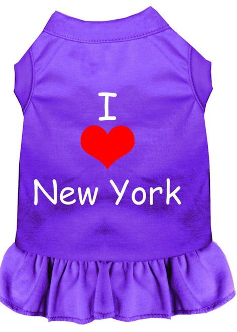 I Heart New York Screen Print Dress Purple Xs (8)